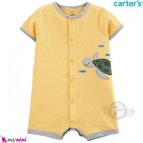 رامپرز کارترز اورجینال نخ پنبه ای زرد لاکپشت Carter's baby boy rompers