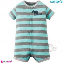 رامپرز کارترز اورجینال نخ پنبه ای راه راه طوسی سبزآبی Carter's baby boy rompers