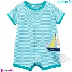 رامپرز کارترز اورجینال نخ پنبه ای فیروزه ای قایق Carter's baby boy rompers