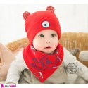 ست کلاه و دستمال گردن بچه گانه پنبه ای 2 حالته خرسی Baby cotton hat & cotton Triangle bibs set