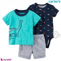 لباس کارترز اورجینال پسرانه 3 تکه شلوارک و بادی کوتاه سرمه ای سبزآبی دایناسور Carter's kids clothes set