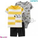 لباس کارترز اورجینال پسرانه 3 تکه شلوارک و بادی کوتاه طوسی زرد راه راه راهسازی Carter's kids clothes set