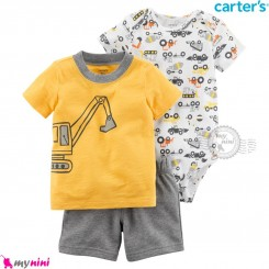 لباس کارترز اورجینال پسرانه 3 تکه شلوارک و بادی کوتاه زرد بیل مکانیکی Carter's kids clothes set