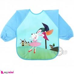 پیشبند لباسی بچه گانه ضدآب آبی خرگوش baby waterproof clothing bibs with sleeves