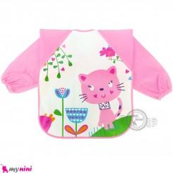 پیشبند لباسی بچه گانه ضدآب صورتی گربه baby waterproof clothing bibs with sleeves