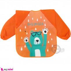 پیشبند لباسی بچه گانه ضدآب نارنجی خرس baby waterproof clothing bibs with sleeves