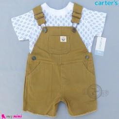 ست بیلرسوت کتان و تیشرت کارترز اصل 2 تکه نسکافه ای جیبدار  Carter's 2-Piece Tee & Shortalls Set