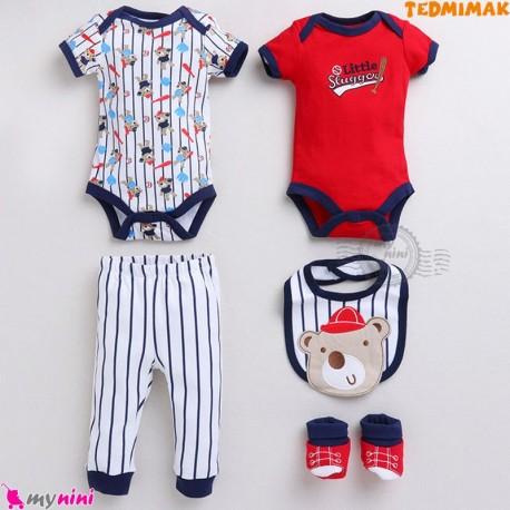 ست لباس بچه گانه نخ پنبه ای 5 تکه مارک تدمیمَک طرح خرسی Tedmimak Baby clothes set