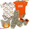 ست لباس بچه گانه نخ پنبه ای 5 تکه مارک تدمیمَک طرح شیر Tedmimak Baby clothes set
