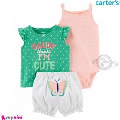 لباس کارترز اورجینال دخترانه 3 تکه شلوارک و بادی رکابی صورتی و سبز خالدار Carter's kids clothes set