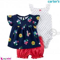 لباس کارترز اورجینال دخترانه 3 تکه شلوارک و بادی کوتاه سفید خالدار و سرمه ای گل Carter's kids clothes set