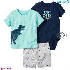 لباس کارترز اورجینال پسرانه 3 تکه شلوارک و بادی کوتاه سرمه ای فیروزه ای تیرکس Carter's kids clothes set