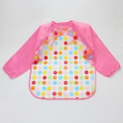 پیشبند لباسی بچه نایلونی صورتی اسمارتیز Baby long sleeve waterproof bib