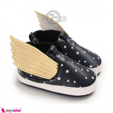 کفش نوزاد و کودک سرمه ای بالدار baby first walking shoes