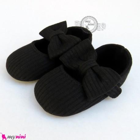 کفش دخترانه نوزاد و کودک کبریتی پاپیون مشکی Baby girl footwear