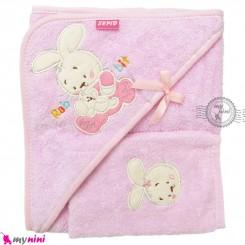 حوله بزرگ کلاه دار نوزاد و کودک 2 تکه صورتی خرگوش Baby hooded towel