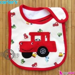 پیشبند کارترز پنبه ای قرمز ماشین Carters baby cotton bib