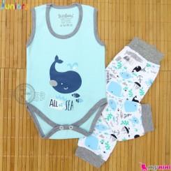 ست بادی رکابی و شلوار نخ پنبه ای آبی نهنگ مارک جونیورز Baby clothes set