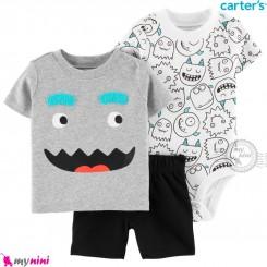 لباس کارترز اورجینال پسرانه 3 تکه شلوارک و بادی کوتاه آدمک carter's baby 3-piece short set