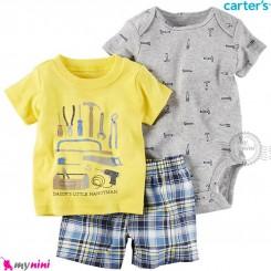 لباس کارترز اورجینال پسرانه 3 تکه شلوارک و بادی کوتاه طوسی و زرد ابزار carter's baby 3-piece short set