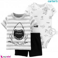 لباس کارترز اورجینال پسرانه 3 تکه شلوارک و بادی کوتاه سفید طوسی راه راه کوسه carter's baby 3-piece short set