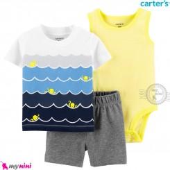 لباس کارترز اورجینال پسرانه 3 تکه شلوارک و بادی زرد و آبی دریا carter's baby 3-piece short set