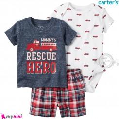 لباس کارترز اورجینال پسرانه 3 تکه شلوارک دار آبی تیره آتش نشانی carter's baby 3-piece short set