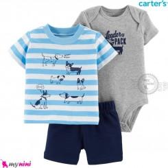 لباس کارترز اورجینال پسرانه 3 تکه شلوارک و بادی کوتاه طوسی آبی سگ carter's baby 3-piece short set