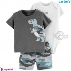 لباس کارترز اورجینال پسرانه 3 تکه شلوارک دار طوسی دایناسور ارتشی carter's baby 3-piece short set
