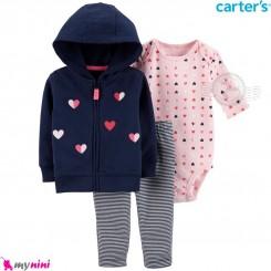 لباس کارترز اورجینال 3 تکه سویشرت سرمه ای قلب بادی صورتی Carter's baby boy hooded cardigan set