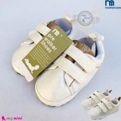 کفش مارک مادرکر نوزاد و کودک اسپرت سفید طلایی baby first walking shoes