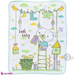 زیرانداز تعویض نوزاد دو رو حوله ای نایلونی سبز طرح خرس سایز بزرگ Newborn Mat