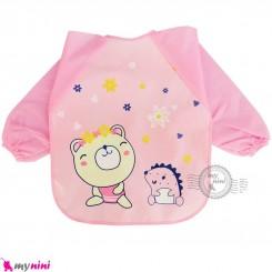 پیشبند لباسی بچه گانه ضدآب صورتی خرس و جوجه تیغی baby waterproof clothing bibs with sleeves