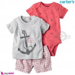 لباس کارترز اورجینال 3 تکه شلوارک دار طوسی صورتی لنگر carter's baby 3-piece short set