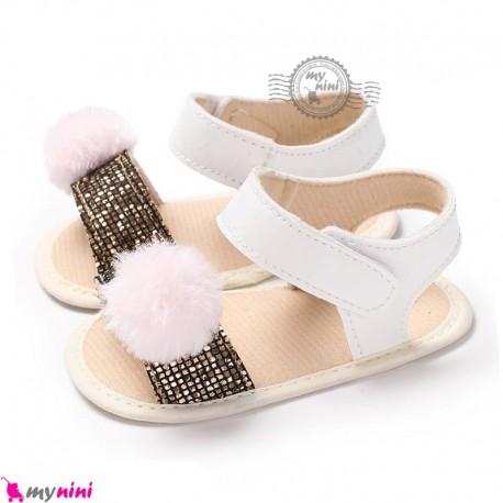 صندل دخترانه نوزاد و کودک استپ دار طرح شاین Baby girl footwear