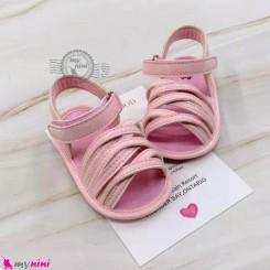 صندل دخترانه نوزاد و کودک استپ دار صورتی بندی Baby girl footwear