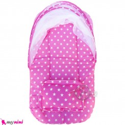 پشه بند نوزاد و کودک تشک دار مسافرتی صورتی ستاره Baby mosquito net