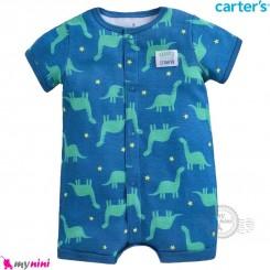 رامپر کارترز اورجینال نخ پنبه ای آبی دایناسور سبز Carter's baby boy romper