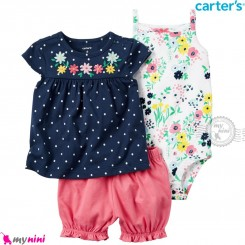 لباس کارترز اورجینال 3 تکه شلوارک دار سرمه ای خالدار گل carter's baby 3-piece short set