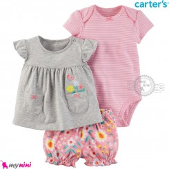 لباس کارترز اورجینال 3 تکه شلوارک دار صورتی طوسی گل carter's baby 3-piece short set