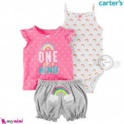 لباس کارترز اورجینال 3 تکه شلوارک دار صورتی ابر و رنگین کمان carter's baby 3-piece short set