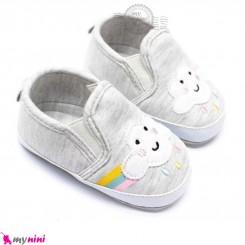 کفش نوزاد و کودک استپ دار طوسی ابر و رنگین کمان Baby first footwear