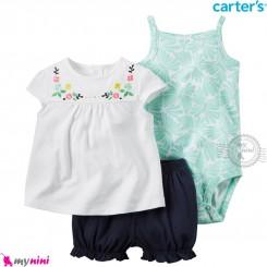 لباس کارترز اورجینال 3 تکه شلوارک دار سبز و سفید گل carter's baby 3-piece short set