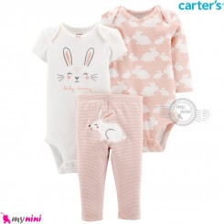 لباس کارترز 3 تکه اورجینال 2 عدد بادی و شلوار کالباسی خرگوش Carter's kids clothes set