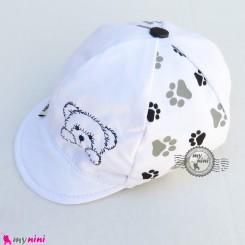 کلاه نقابدار بچه گانه اسپرت خرسی سفید baby cotton cap