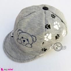 کلاه نقابدار بچه گانه اسپرت خرسی طوسی baby cotton cap