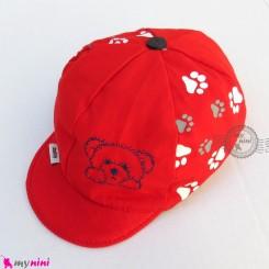 کلاه نقابدار بچه گانه اسپرت خرسی قرمز baby cotton cap