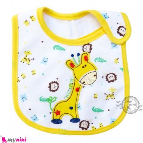 پیشبند نوزاد و کودک نخی 3 لایه زرد زرافه baby cotton Bib