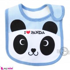 پیشبند نوزاد و کودک نخی 3 لایه آبی پاندا baby cotton Bib
