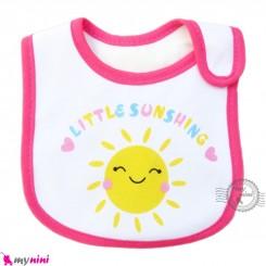 پیشبند نوزاد و کودک نخی 3 لایه صورتی خورشید baby cotton Bib